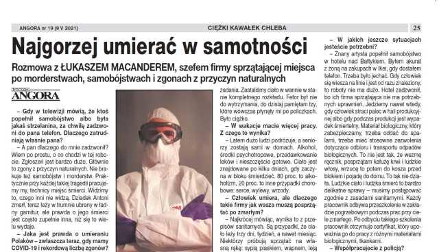 Sprzątanie po zgonach - Vector w tygodniku Angora